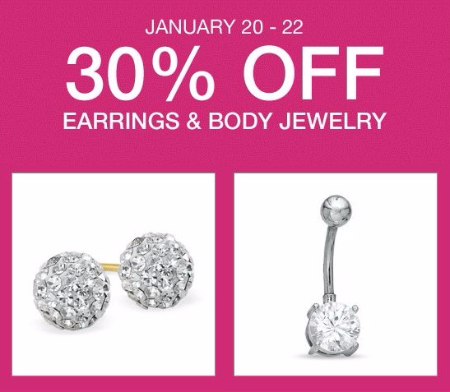 30% Off Earrings & Body Jewelry